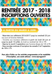 Inscriptions 2017-2018 : le calendrier