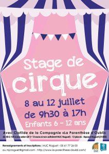Stage de Cirque du 8 au 12 juillet