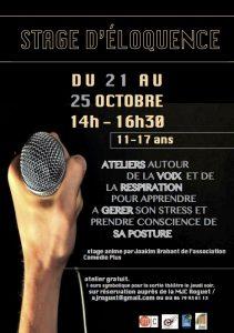 Stage d'éloquence du 21 au 25 octobre pour les 11-17 ans